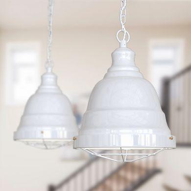 Ganton Vintage Cage Pendant Light Pure White