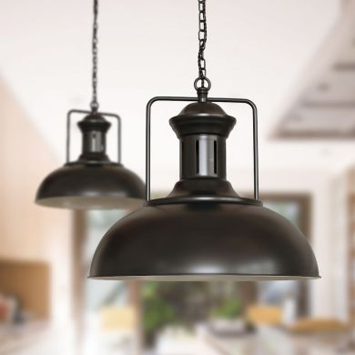 Regent Vintage Kitchen Pendant Light Matt Black