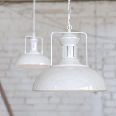 Regent Vintage Kitchen Pendant Light Pure White