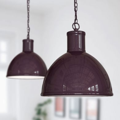 Wardour Industrial Bay Pendant Light Mulberry Red