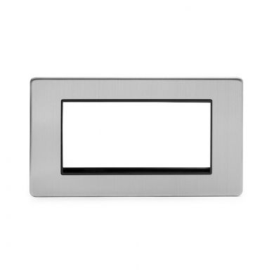 Brushed chrome metal Double Data Plate 4 Modules with Black insert