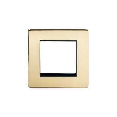 24k Brushed Brass metal Single Data Plate 2 Modules with black insert