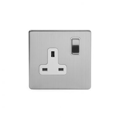 Brushed Chrome Screwless Single Socket