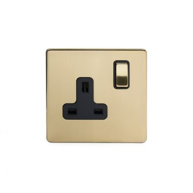 Brushed Brass Screwless Socket