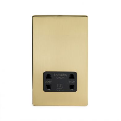 24k Brushed Brass 1 Gang Shaver Socket with Black Insert