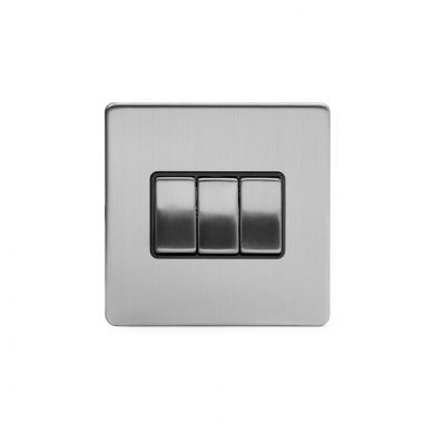 Brushed Chrome 3 Gang 2 Way Switch with Black Insert