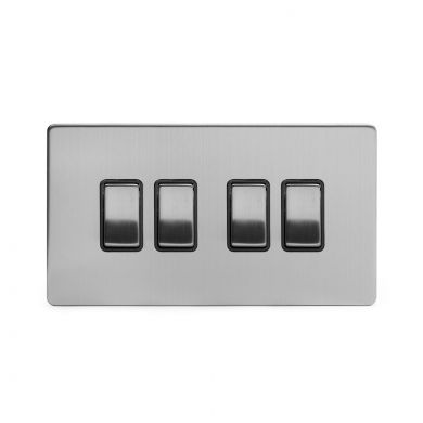 Brushed Chrome 4 Gang 2 Way Switch with Black Insert