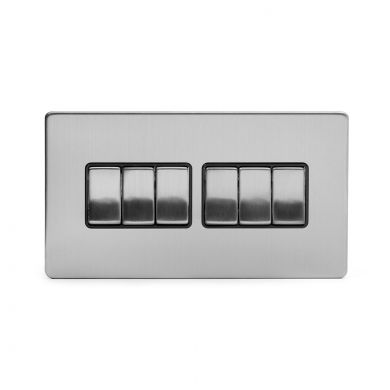 Brushed Chrome 6 Gang 2 Way Switch with Black Insert