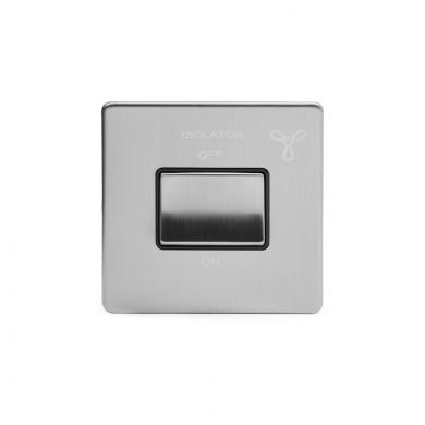 Brushed Chrome 1 Gang 1 way Fan Isolator Switch with Black Insert