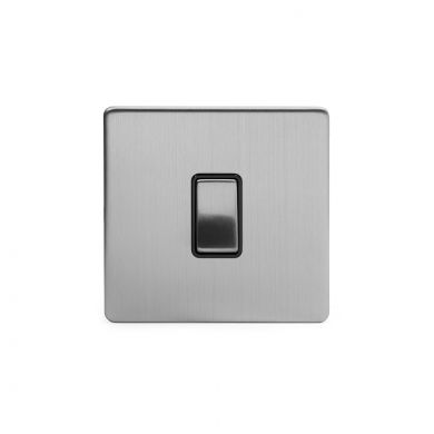 Brushed Chrome 1 Gang Intermediate Switch with Black Insert