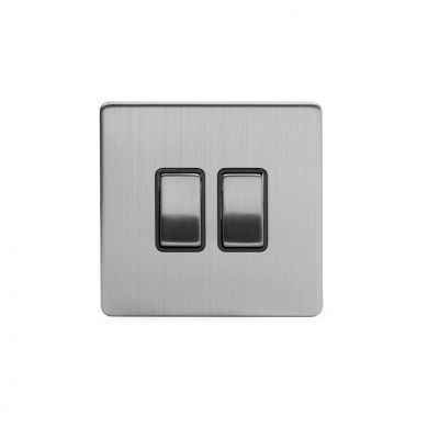Brushed Chrome 2 Gang Intermediate Switch with Black Insert