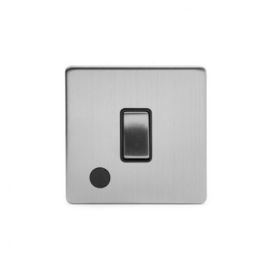 Brushed Chrome 1 Gang Flex Outlet 20 Amp Switch with Black Insert