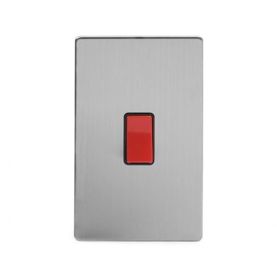 Brushed Chrome 45A 1 Gang Double Pole Switch, Large Plate