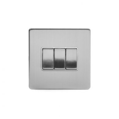 Brushed Chrome 10A 3 Gang 2 Way Switch With White insert