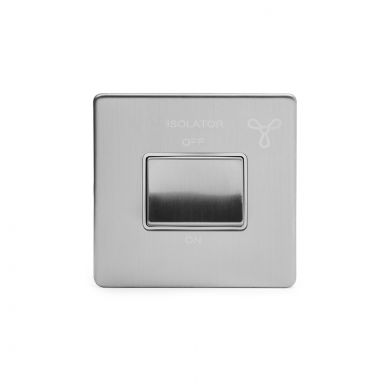 Brushed Chrome 10A 1 Gang 1 Way 3-Pole Fan Isolator Switch With White insert