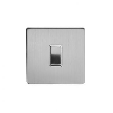 Brushed Chrome 1 Gang Intermediate Switch With White insert
