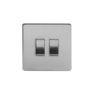 Brushed Chrome 2 Gang Intermediate Switch With White insert