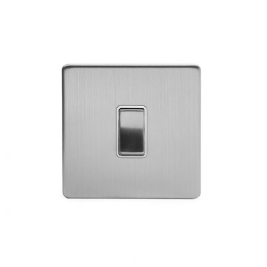Brushed Chrome 1 Gang 20 Amp Switch with White Insert