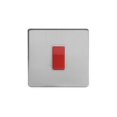 Brushed Chrome 45A 1 Gang Double Pole Switch, Single Plate with White Insert