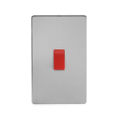 Brushed Chrome 45A 1 Gang Double Pole Switch, Large Plate with White Insert