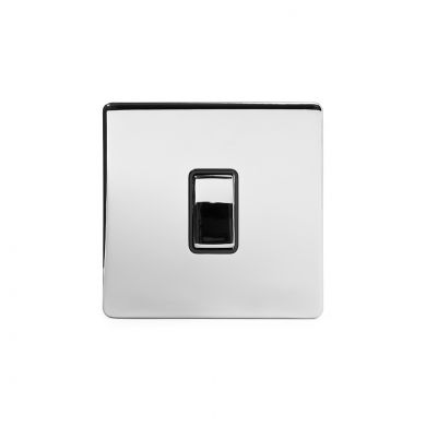 Polished Chrome 10A 1 Gang 2 Way Switch with Black Insert