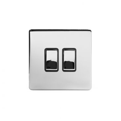 Polished Chrome 10A 2 Gang 2 Way Switch with Black Insert