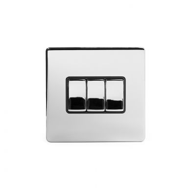 Polished Chrome 3 Gang 2 Way Switch with Black Insert