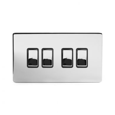 Polished Chrome 4 Gang 2 Way Switch with Black Insert