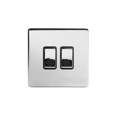 Polished Chrome 2 Gang Intermediate Switch with Black Insert