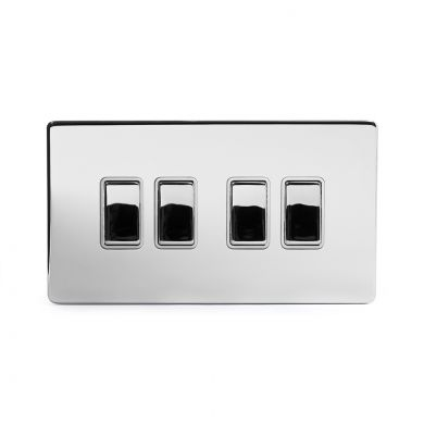 Polished Chrome 10A 4 Gang 2 Way Switch With White insert