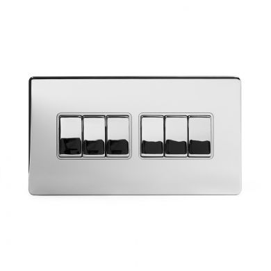 Polished Chrome 10A 6 Gang 2 Way Switch With White insert