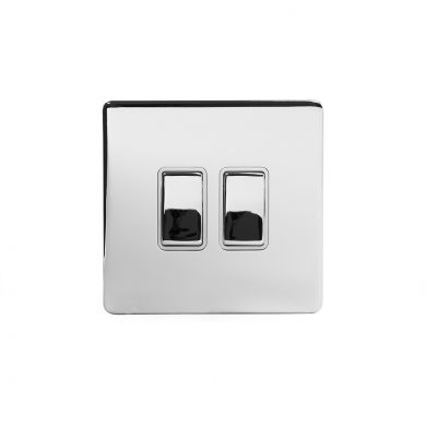 Polished Chrome 2 Gang Intermediate Switch With White insert