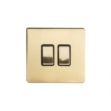 24k Brushed Brass 10A 2 Gang 2 Way Switch with Black Insert