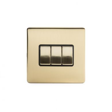 24k Brushed Brass 3 Gang 2 Way Switch with Black Insert