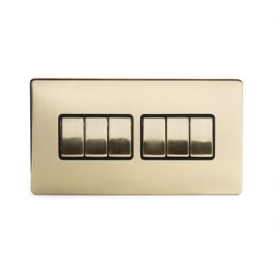 24k Brushed Brass 6 Gang 2 Way Switch with Black Insert