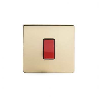 24k Brushed Brass 45A 1 Gang Double Pole Switch, Single Plate
