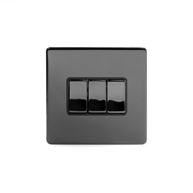 Black Nickel 3 Gang 2 Way Switch with Black Insert