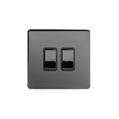 Black Nickel 2 Gang Intermediate Switch with Black Insert