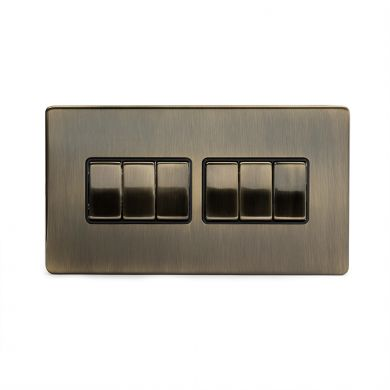 Antique Brass 6 Gang 2 Way Switch with Black Insert