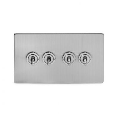 NICKEL CHROME SPECIAL OFFER Screwless Flatplate 2Gang Switch STEEL MATT BLACK