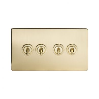 24k Brushed Brass 4 Gang 2 Way Toggle Switch with Black Insert