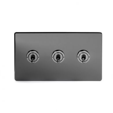 Black Nickel 3 Gang 2 Way Toggle Switch with Black Insert