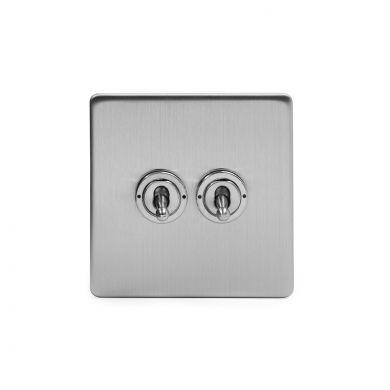 Soho Lighting Brushed Chrome 2 Gang 20 Amp Intermediate Toggle Switch Screwless