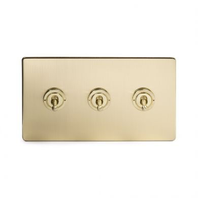 Soho Lighting Brushed Brass 3 Gang 20 Amp Intermediate Toggle Switch Screwless