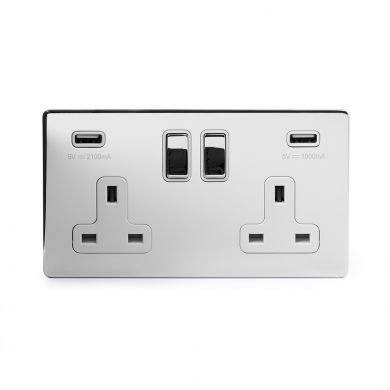 Polished chrome 2 gang usb socket white insert