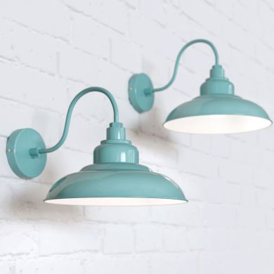 Portland Reclaimed Style Wall Light Duck Egg Blue