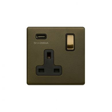 Soho Fusion Bronze & Brushed Brass 13A 1 Gang DP USB Socket (USB 2.1amp) Black Inserts Screwless