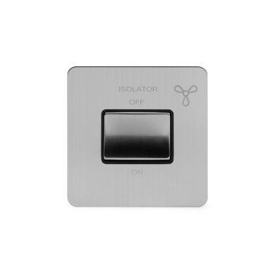 Soho Lighting Brushed Chrome Flat Plate 10A 1 Gang 1 Way 3-Pole Fan Isolator Switch Blk Ins Screwless