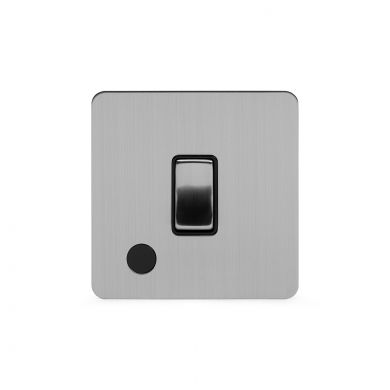 Soho Lighting Brushed Chrome Flat Plate 20A 1 Gang Double Pole Switch Flex Outlet Blk Ins Screwless