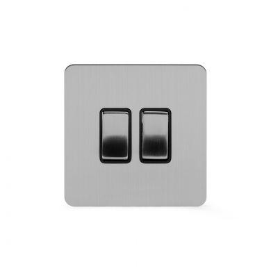 Soho Lighting Brushed Chrome Flat Plate 2 Gang Intermediate Switch Blk Ins Screwless